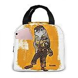 shenguang Bolsa de almuerzo con aislamiento portátil Zoot-Opia, bolsa de asas para el almuerzo, para viajes, picnic, trabajo o escuela, con bolsillo frontal