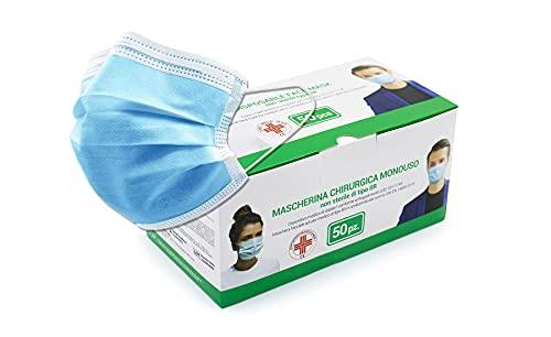 Mascherine monouso protettive 3 strati con elastici per le orecchie e clip per il naso. CONF.50 PCS