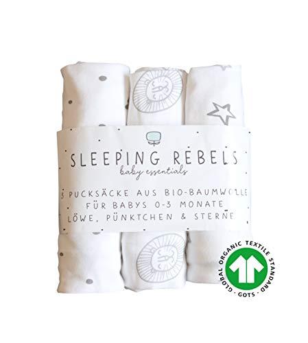 Sleeping Rebels® Premium Pucksack Baby - 100% BIO-Baumwolle GOTS Zertifiziert Pucktuch Swaddle Wickeldecke Schwarz-Weiß 0-3 Monate