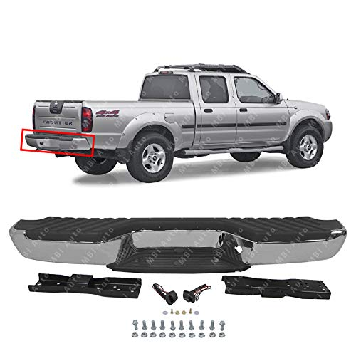 MBI AUTO - Steel Chrome, Complete Rear Bumper Assembly for 1998 1999 2000 2001 2002 2003 2004 Nissan Frontier, NI1102136