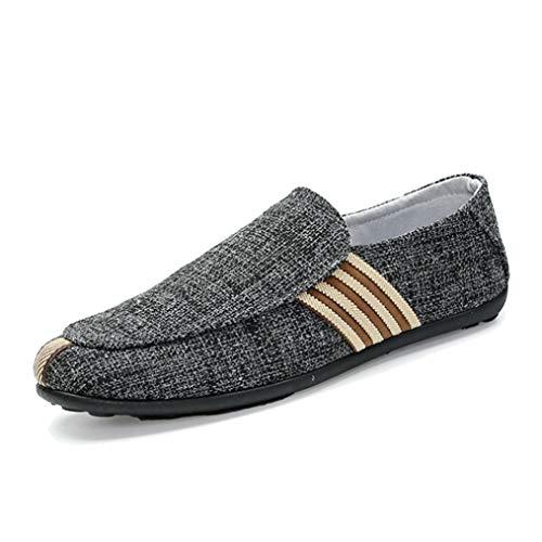 Zapatos Casuales para Hombres Pisos de Lino Transpirable con diseño a Rayas Zapatillas sin Cordones Alpargatas Mocasines Hombres
