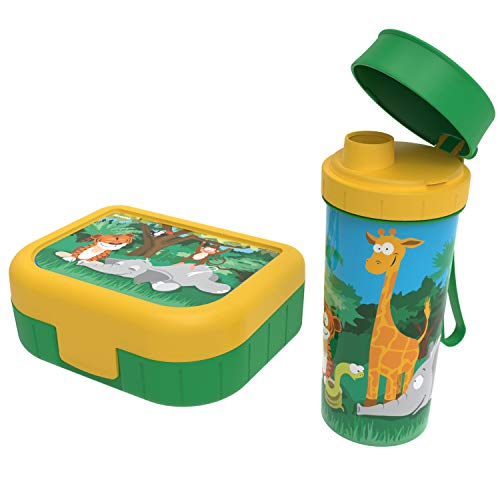 "Rotho Memory Kids 2er-Set Vesperdose mit Trinkflasche, Kunststoff (PP) BPA-frei, grün mit motiv \""jungle\"", 1l + 0,4l (20,7 x 7,5 x 17,4 cm)"