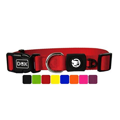 DDOXX Collare Cane Nylon, Regolabile | Tanti Colori e Taglie | Per Cani Piccoli Medi e Grandi | Collari per Cani, Gatti, Cuccioli Taglia Piccola Media Grande | Collarino Gatto | Rosso, M