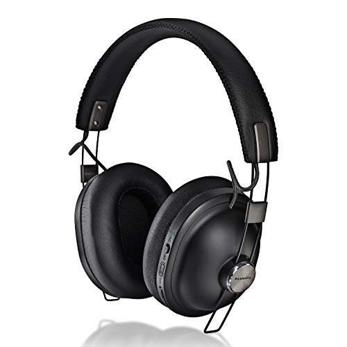 Panasonic Retro Noise Cancelling Bluetooth Wireless Headphone with Voice Assist, Microphone, Deep Bass Enhancer, 24 Hours Playback -RP-HTX90N-K (Black)