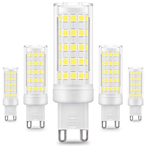KINDEEP G9 lampadina LED - 8W / 650LM, equivalente di lampadine alogene da 75W, Bianco Freddo 6000K, 360 Angolo a fascio, 5-Pack