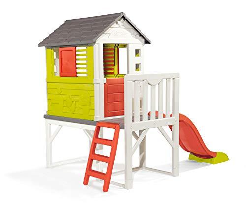Smoby – Stelzenhaus - Spielhaus mit Rutsche, XL Spiel-Villa auf Stelzen, mit Fenstern, Tür, Veranda, Leiter, für Jungen und Mädchen ab 2 Jahren