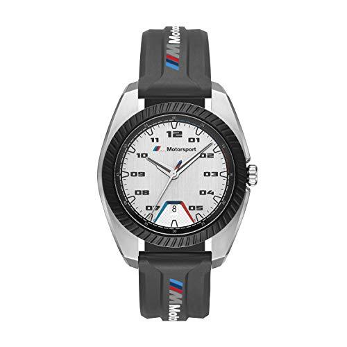 Orologio al quarzo in acciaio inossidabile BMW M Motorsport con cinturino in silicone nero per uomo...