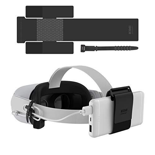 KIWI Design VR Power Bank-Befestigungsgurt für Oculus Quest/Quest 2-Zubehör Kompatibel für mehrere Größen Mobile Power Fixiert am VR-Headset (Power Bank Nicht im Lieferumfang enthalten)