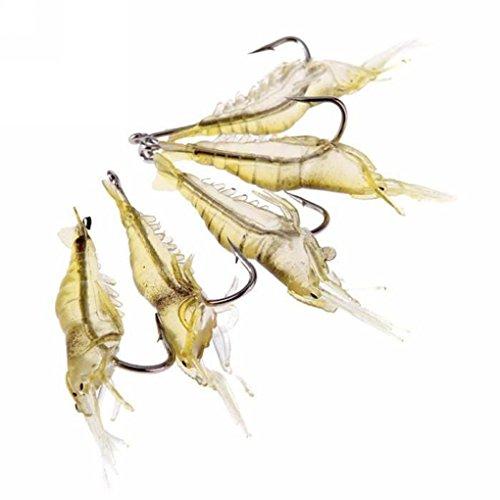 PRENKIN 5pcs / Lot Morbido di Simulazione gamberetti Esca Esca Pesca Morbida Artificiale Esche da Pesca di gamberi con Ganci