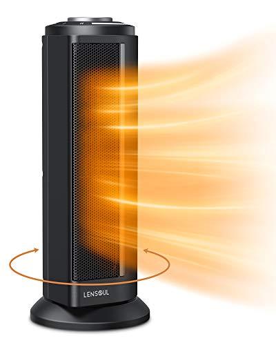 Lensoul Radiateur Électrique Portable 1100 W / 2000 W,Chauffage En Céramique Avec Thermostat Réglable, 80°Auto-Oscillant, Protection Contre Surchauffe, Avec Poignée de Transport