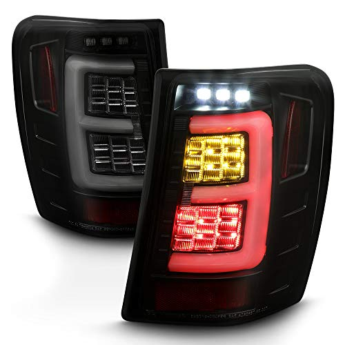 ACANII - For 1999-2004 Jeep Grand Cherokee Black Housing Smoked Lens Full LED Tail Lights Brake Lamps Assembly Pair Set