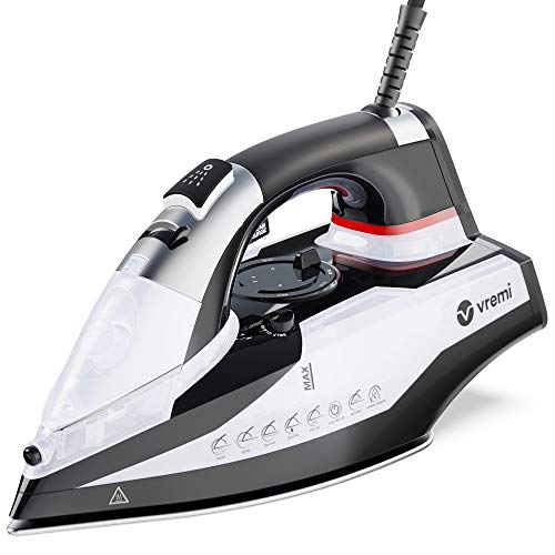 Vremi 1800 Watt Steam Iron for Clothes - Nonstick Ceramic Sole Plate, 350 mL Water Tank, 8 Foot Power Cord, 3 Way Auto Shut Off and Self Cleaning Function