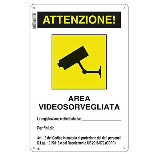Poste indicador para zona de videovigilancia, zona sujeta a videovigilancia GDPR (PVC, 20x30 cm)