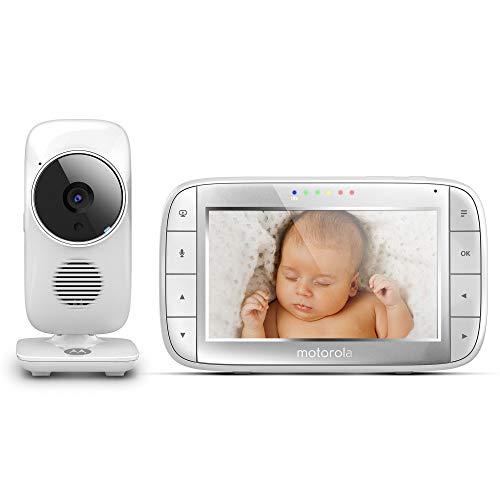 Motorola MBP 48 - Babyphone vidéo avec grand écran 5.0', éco mode, vision nocturne et capteur de la température ambiante, couleur blanc