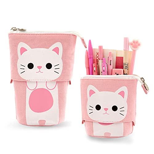 iSuperb Astuccio Pencil Case Portamonete Gatto Schema Cute Borsa Trucco Portapenne con Cerniera 19 x 12.5 x 7.5 cm (Rosa)
