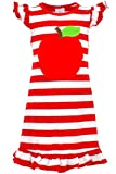 Unique Baby Girls Back to School Apple Shirt Dress (6/XL, Red)