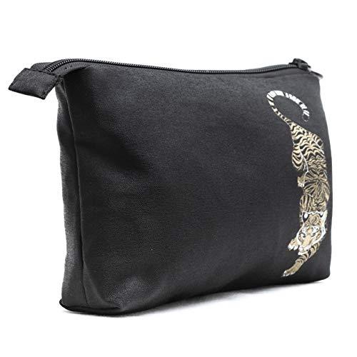 Pochette Multiuso per Donna e Uomo - Porta Trucchi da Borsa Realizzato a Mano - Astuccio Porta Oggetti moderno e comodo in Tessuto 22,5 X 16 X 4 cm. (006 Tiger - Black)