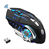 Xmate Zorro Pro 2.4GHz Wireless Gaming Mouse, 3200 DPI Optical Sensor, RGB Lighting, 6 Mechanical Buttons, 600mAh Rechargeable, Lightweight & Durable Mouse for PC/Laptop/Mac - (Black)