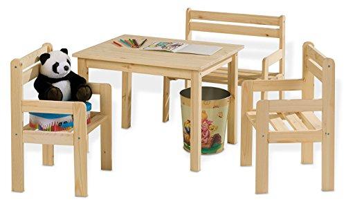 Home4You Sitzgruppe Kindersitzgruppe Kindertischgruppe   Holz Kiefer Massiv   Tisch, 2 Stühlen & Sitzbank