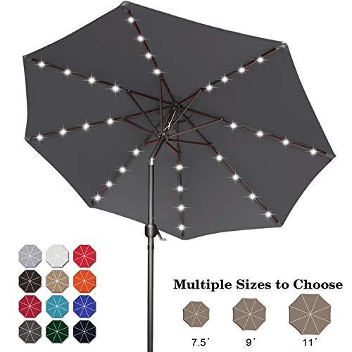 ABCCANOPY 9FT Patio Umbrella Ourdoor Solar Umbrella LED Umbrellas with 32LED Lights, Tilt and Crank Table Umbrellas for Garden, Deck, Backyard and Pool,12+Colors,(Dark Gray)