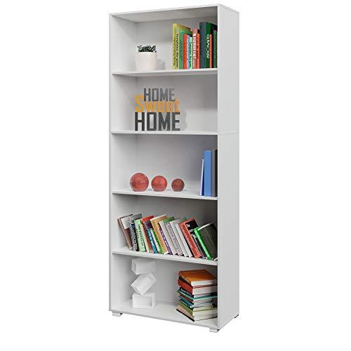 Deuba 190cm Bücherregal Standregal Vela Weiß 5 Fächer Wandregal Ordner Regal Holz Hoch - weitere Modell- & Farbauswahl