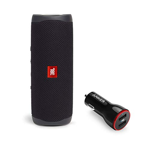41 yy++dgeL This bundle includes (1) JBL Flip 5 Waterproof Portable Wireless Bluetooth Speaker and (1) 2-Port USB Car Charger. Don't sweat the small stuff like charging your battery. Flip 5 gives you more than 12 hours of playtime. Keep the music going longer and louder with JBL's signature sound. Bring your speakers anywhere. Pool party? Perfect. Sudden cloudburst? Covered. Bash on the beach? Flip 5 is IPX7 waterproof up to three-feet deep for fearless outdoor entertainment.