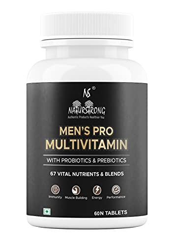 Naturstrong Men's Pro Daily Immunity Boosters Multivitamin Supplements for Men with 67 Vitamins Nutrients & 14 Blends Multivitamins For Men Adults Bodybuilding with Probiotics Prebiotics - 60 Tablets