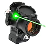 AT3 LEOS Red Dot Sight with Integrated Green Laser Sight - 2 MOA Red Dot Scope with Flip Up Lens Caps