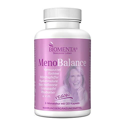 BIOMENTA Meno Balance - Yamswurzel, Rotklee, Frauenmantel, Mönchspfeffer, Hyaluronsäure, Rhabarber, Granatapfel uvm - vegan - 120 Kapseln