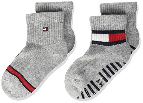 Tommy Hilfiger Baby Flag Socks (2 Pack) Calzini, Chiaro Grigio Melange, 23-26 Unisex-Bimbi
