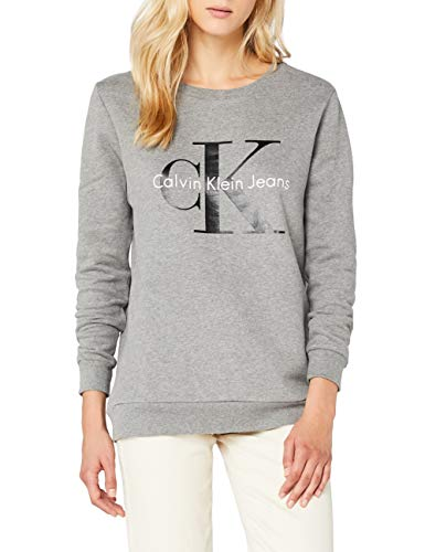 Calvin Klein Jeans Damen CREW NECK HWK TRUE ICON Sweatshirt, Grau...