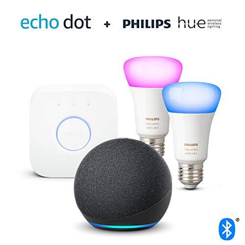 4100I05Q98L Bon plan Hue !  Nouvel Echo Dot (4e génération), Anthracite + Philips Hue Kit de démarrage 2 Ampoules Color (E27), Fonctionne avec ...