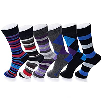 VARIETY – Our stylish Alpine Swiss 6 pack dress socks come in a great range of colors that fit a variety of different styles. From classic muted colors and argyle, to fun bright colors and patterns, we have the ideal pack to elevate any outfit. COMFO...