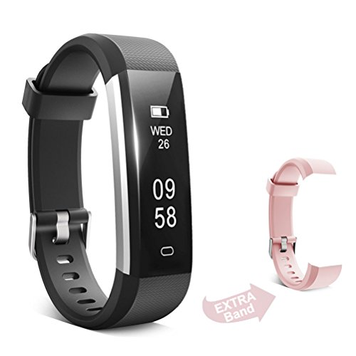 ForEverFit Fitness Tracker Waterproof Activity Tracker Sleep Monitor Pedometer Step Counter Smart Watch Bracelet Bluetooth Wristband for Kids Women Men Extra Replacement Band (Black with Pink)