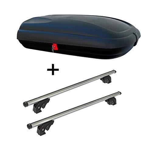 Dachbox VDPBA320 320Ltr carbonlook abschließbar + Dachträger VDPLION1 kompatibel mit Peugeot 2008 (5 Türer) ab 13