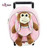 Emily Rose 18 Inch Doll Rolling Backpack Toddler Luggage w/Detachable Monkey | Fits American Girl Dolls