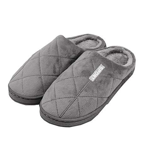 Infispace® Unisex Furry Warm Indoor Slippers with Memory Foam (UK 6, Grey)