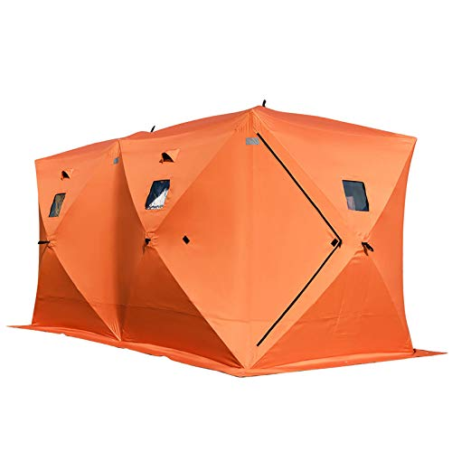 Happybuy 8 Person Ice Fishing Shelter, Pop-Up Portable Insulated Ice Fishing Tent, Waterproof Oxford...