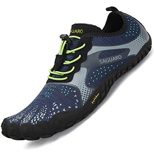 SAGUARO Barefoot Trail Running Shoes Mens Minimalist Running Shoes Non-Slip Breathable Barefoot Climbing Shoes Oxford Blue 10.5 UK