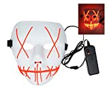 AirSharken Frightening Wire Halloween Glowing Mask, Scary Cosplay LED Light up Masks (Red)