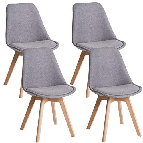 Deuline® 4X Esszimmerstühle Esszimmerstuhl Küchenstuhl SGS Zertifiziert Massivholz Beine Polsterstuhl Retro Design Stühle Lehnstuhl Oslo Grau - Stoffbezug 521205