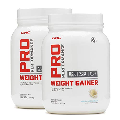 GNC Pro Performance Weight Gainer - Vanilla Ice Cream, Twin Pack, 6 Servings per Bottle, High-Quality Protein to Increase Mass