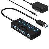Sabrent Concentrador USB 3.0 de 4 Puertos con interruptores de alimentación LED iluminados Individuales, Adaptador de alimentación Incluido 5V / 2.5A (HB-UMP3)