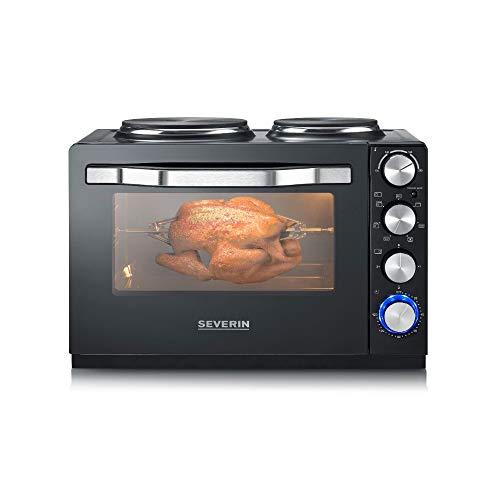 SEVERIN Back- und Toastofen mit Kochplatten, Backofen mit 30 L Garrauminhalt, Minibackofen mit Kochplatten zum Kochen, Grillen und Backen, Gesamtleistung 2500 W, schwarz, TO 2065