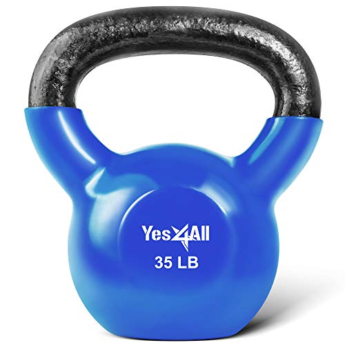 Yes4All Vinyl Coated Kettlebell Weights Set  Great for Full Body Workout and Strength Training  Vinyl Kettlebell 35 lbs (KVWK)