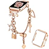 Dilando Bling Bracelet Compatible with Apple Watch Bands Charms 38mm 40mm with Bling Diamond Case Women Metal Strap for Iwatch Series SE 6 5 4 3 2 1 Adjustable Stainless Steel (Rose Gold, 40mm)