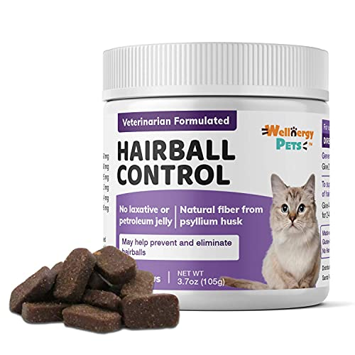 Natural Hairball Control Chews for Cats – Hairball Remedy & Aid with Omega 3 6 Fatty Acids, Zinc, Biotin, Cranberry, and Fiber. Promotes Skin & Coat, Digestive, Urinary Health. 70ct