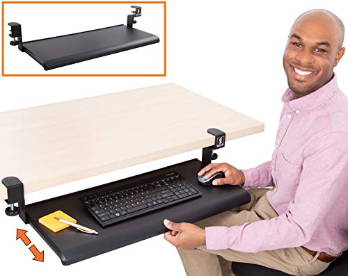 Stand Steady Easy Clamp On Keyboard Tray - Extra Large Size - No Need to Screw Into Desk! Slides Under Desk - Easy 5 Min Assembly - Great for Home or Office!