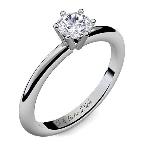 Verlobungsring Silber Ring Damen Silber 925 Zirkonia Stein mit GRAVUR & ETUI-BOX Silberring Frau Verlobungsringe Damenring rhodiniert Echt Schmuck Antragsring AM195SS925ZI54
