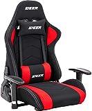 IDEER LIFE ゲーミングチェア ゲーミング座椅子 通気性抜群 メッシュ生地 ゲーム用チェア リクライニング パソコンチェア ハイバック ヘッドレスト 回転機能無 メッシュ(赤色)
